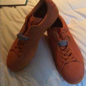 Orange Pumas with triple fat laces. NEW! 10.5